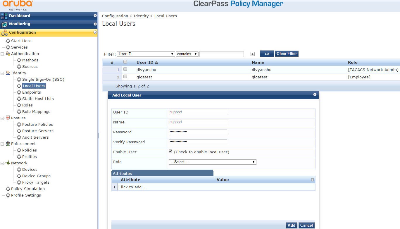 How To: Setup Clearpass Tacacs+ server for aaa authentication with